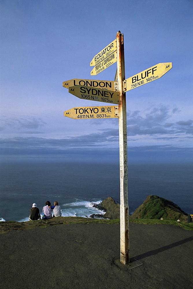 World sign, Cape Reinga, Northland, North Island, New Zealand, Pacific
