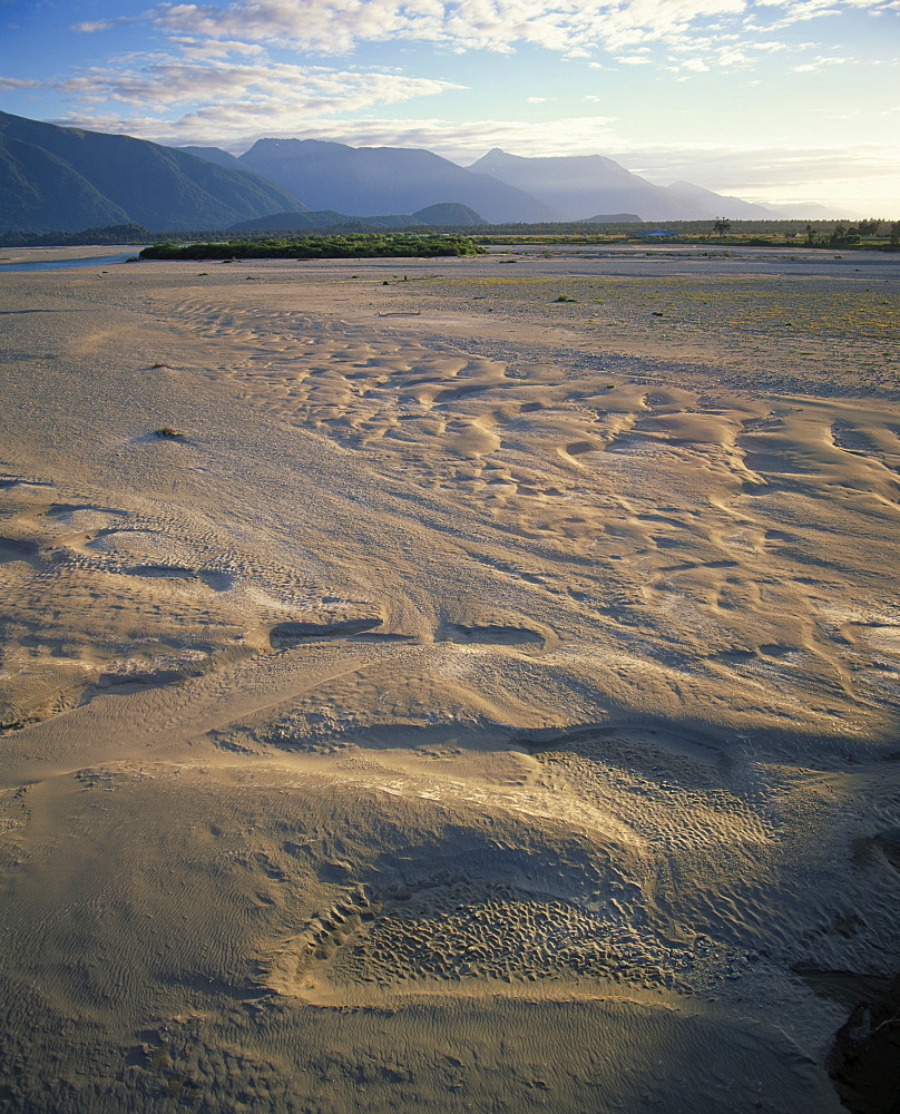 Sand depressions in the flood plain of the Haast River valley at the start of the main divide, Haast, Westland, South Island, New Zealand, Pacific