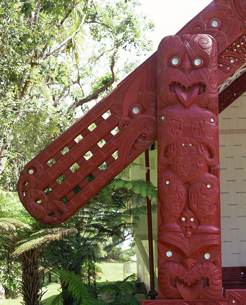 Bargeboards representing ancestors' arms on a building in the Waitangi National Reserve, Whara Runanga, at Waitangi, Bay of Islands, North Island, New Zealand, Pacific
