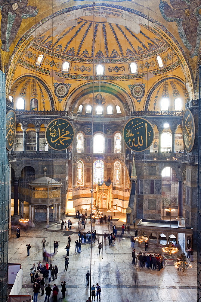 Byzantine architecture of Aya Sofya (Hagia Sophia), constructed as a church in the 6th century by Emperor Justinian, a mosque for years, now a museum, UNESCO World Heritage Site, Istanbul, Turkey, Europe - 385-1694