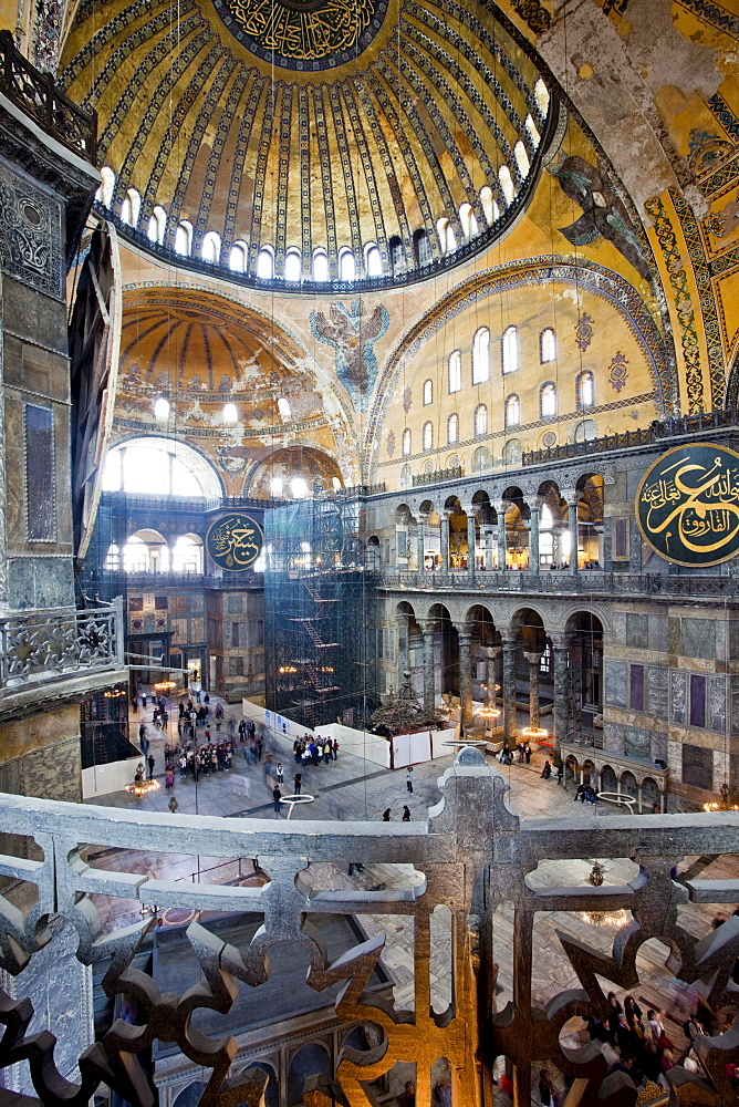Byzantine architecture of Aya Sofya (Hagia Sophia), constructed as a church in the 6th century by Emperor Justinian, a mosque for years, now a museum, UNESCO World Heritage Site, Istanbul, Turkey, Europe - 385-1698
