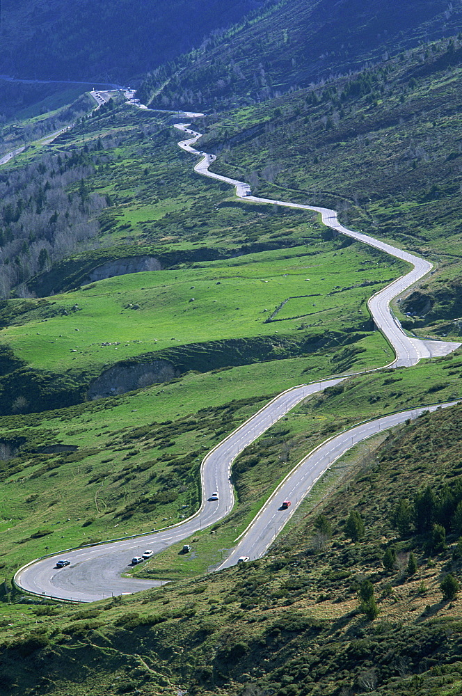 Switchback road, Port d'Envalira, Andorra, Pyrenees, Europe
