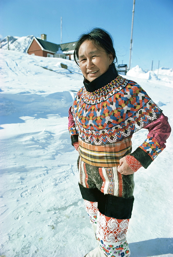Woman wearing national dress, Angmagssalik (Ammassalik), Greenland, Polar Regions