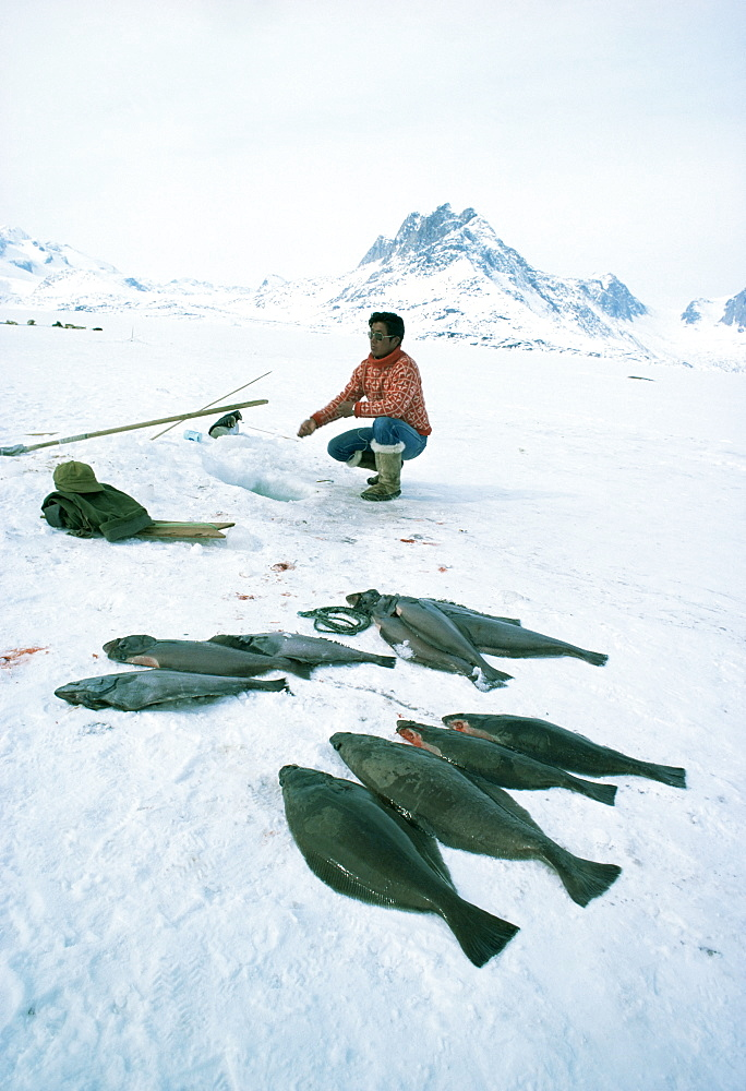 Inuit man fishing for halibut, Greenland, Polar Regions