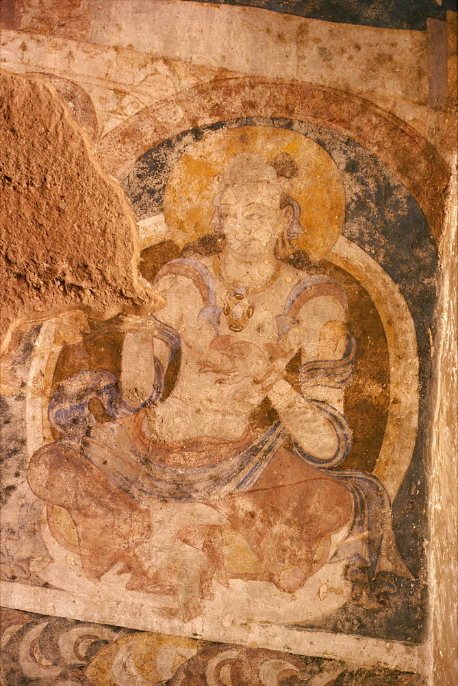 Cave painting at large Buddha cave before destruction by the Taliban, Bamiyan, UNESCO World Heritage Site, Afghanistan, Asia - 39-3524