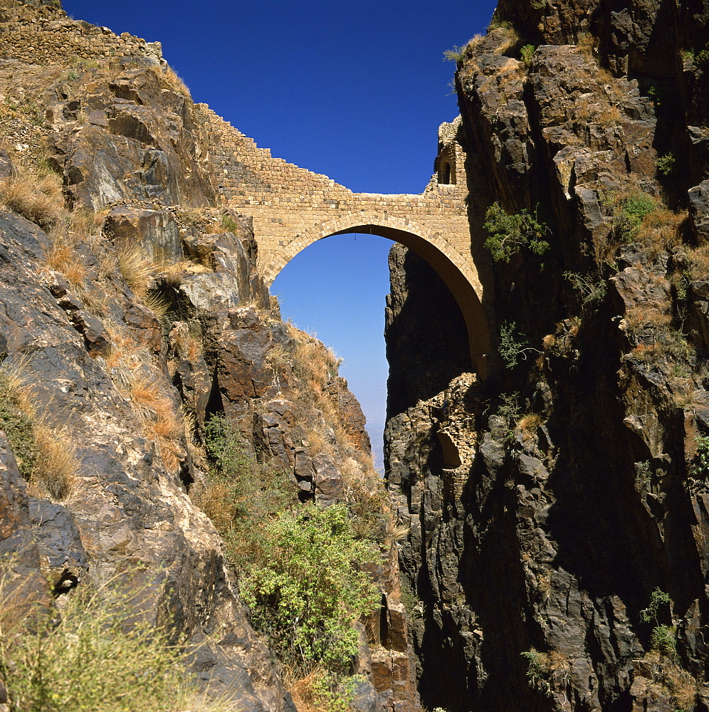 The Shahara Bridge over a rocky gorge, Yemen, Middle East