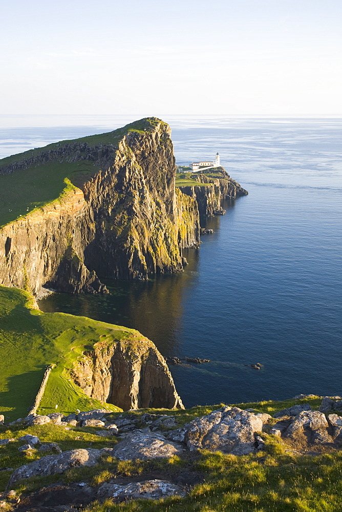 View to the clifftop lighthouse at Neist Point, near Glendale, Isle of Skye, Inner Hebrides, Highland, Scotland, United Kingdom, Europe - 390-2906