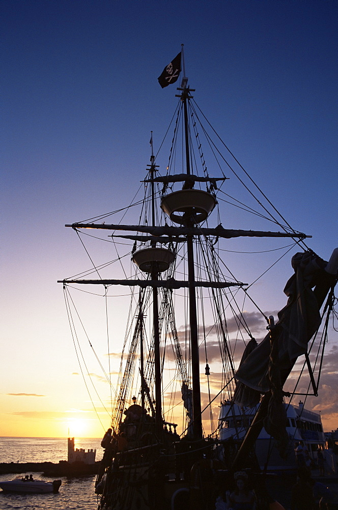 Pirate ship in Hog Sty Bay, during Pirates' Week celebrations, George Town, Grand Cayman, Cayman Islands, West Indies, Central America