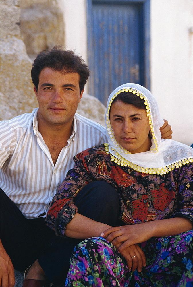 Portrait of a Turkish couple in the village of Soganli south of Urgup, in the Cappadocia region, Anatolia, Turkey, Asia Minor, Eurasia