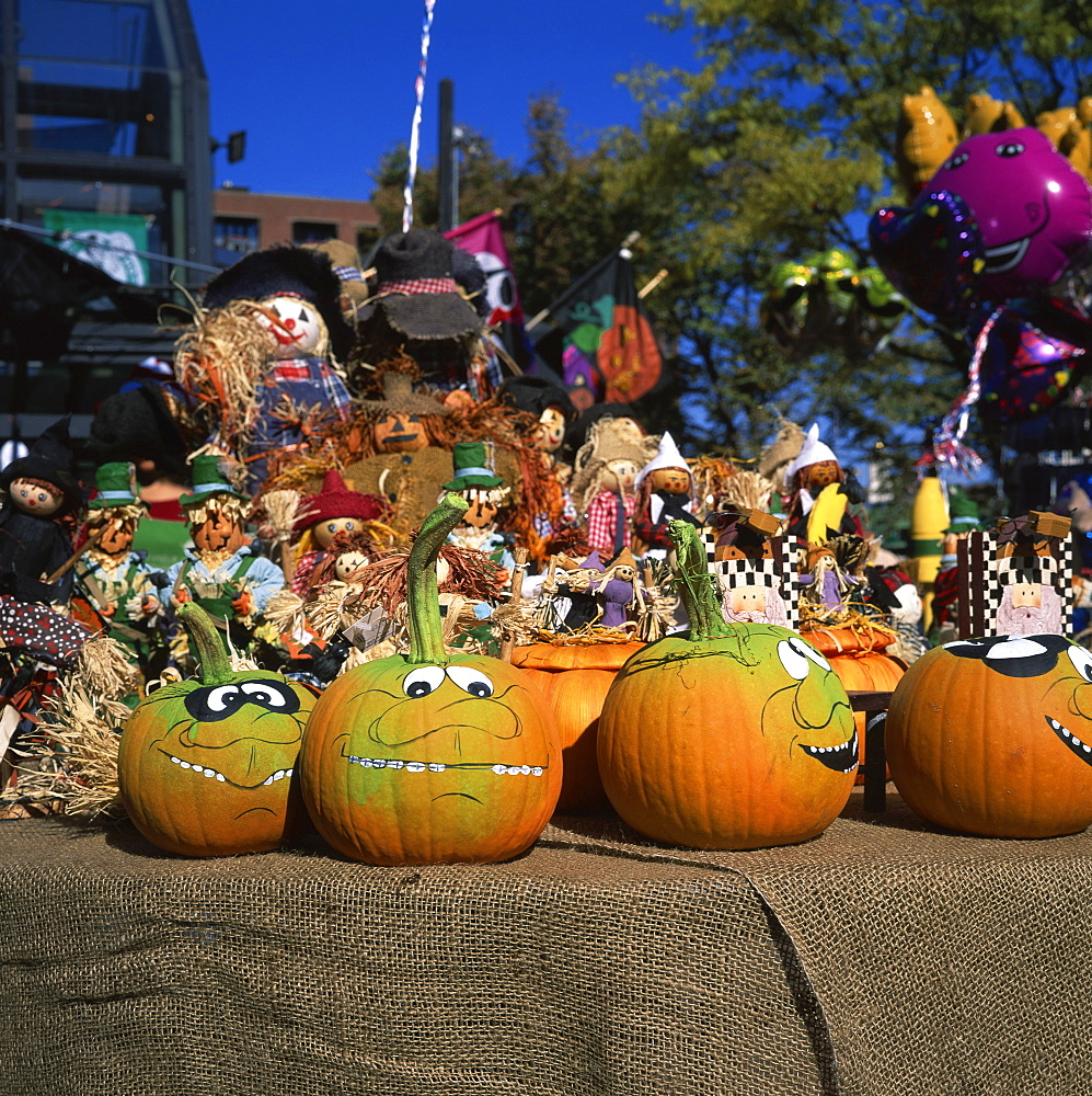 Decorated pumpkins on sale for Halloween, 31st October, in Faneuil Hall Marketplace, in Boston, Massachusetts, New England, United States of America, North America
