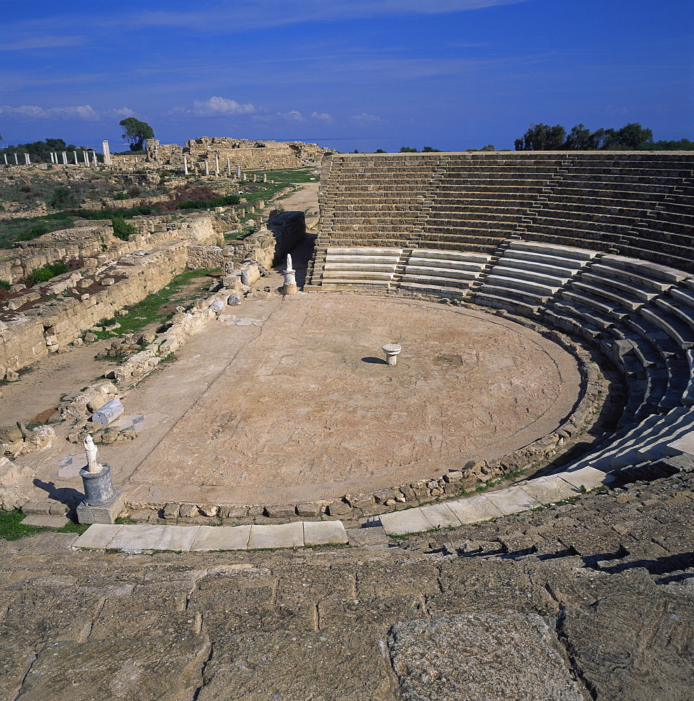 Roman amphitheatre built in reign of Augustus in the 1st century AD, capacity 15000, main city of Cyprus between 1075 BC and 650 AD, Salamis, North Cyprus, Europe