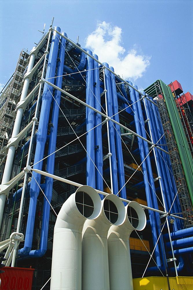 Exterior detail of the Pompidou Centre, Beaubourg, Paris, France, Europe