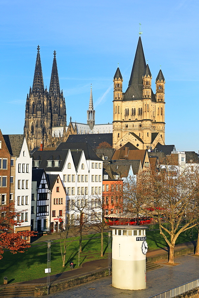 Bank of River Rhine with Gross St. Martin's Church and Cathedral, Cologne, North Rhine-Westphalia, Germany