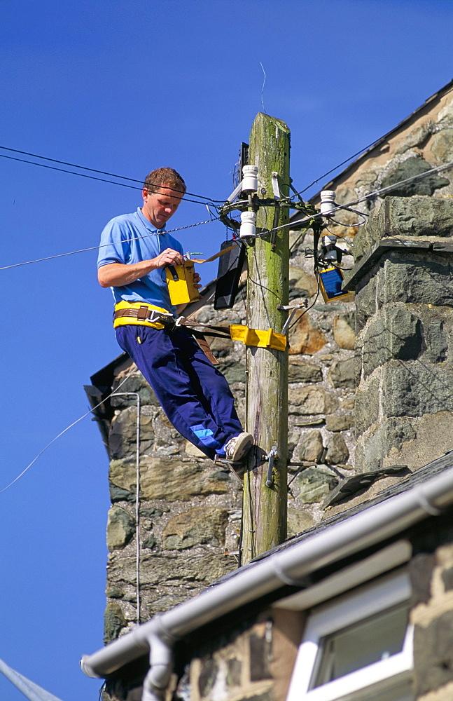 BT engineer testing lines, United Kingdom, Europe