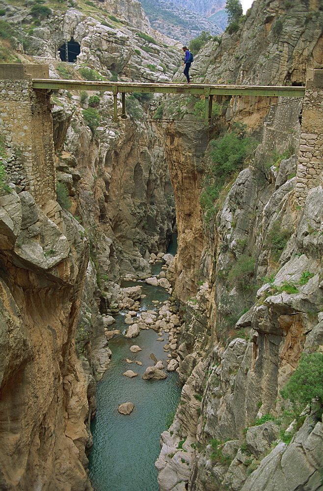 El Chorro Gorge and old cement bridge, Malaga Province, Andalucia, Spain, Europe