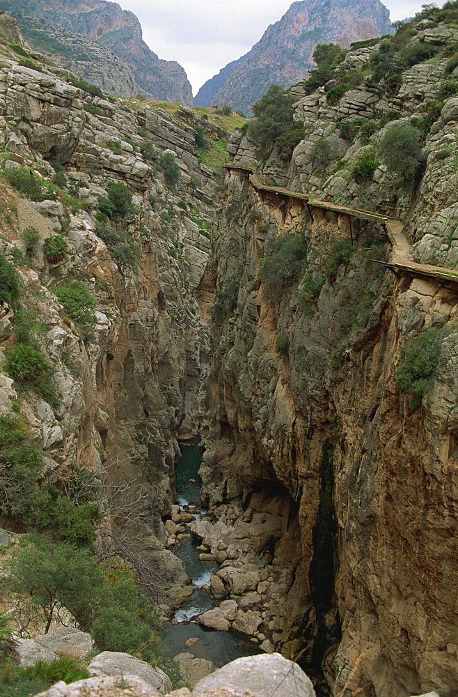 El Chorro Gorge and the old catwalk, Malaga province, Andalucia, Spain, Europe - 397-1207