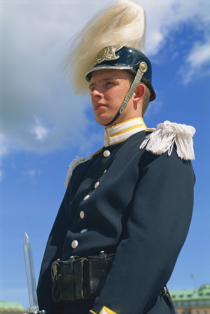 Portrait of a Royal Guard at the Royal Palace in Stockholm, Sweden, Scandinavia, Europe