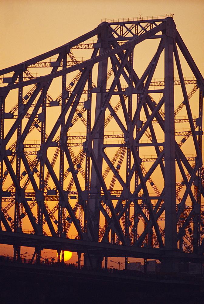 Detail of the Howrah Bridge, Calcutta, West Bengal, India