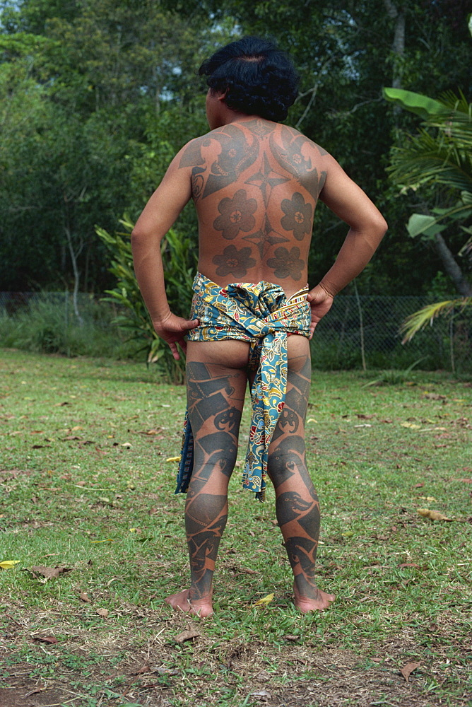 Tattoo, now rare, Iban tribe, Brunei, Borneo, Southeast Asia, Asia - 399-1956