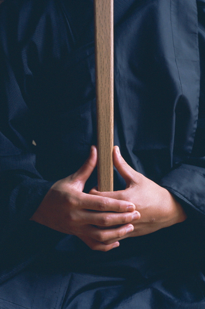 Hands of monk in the posture kyoskku (awakening spirit), Za-Zen meditation, Elheiji (Eiheiji) monastery, Japan, Asia - 399-3664