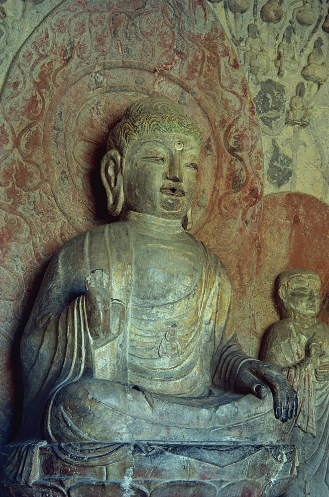 Buddha, Cave N.9, Tang Dynasty, completed 680AD, Longmen Buddhist Caves, UNESCO World Heritage Site, China, Asia - 399-3714