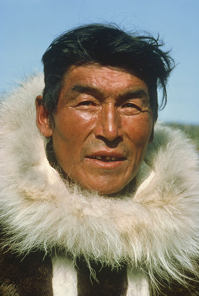 Portrait of Eskimo man wearing caribou skin, Spence Bay, Boothia Peninsula, Northwest Territories, Canada, North America