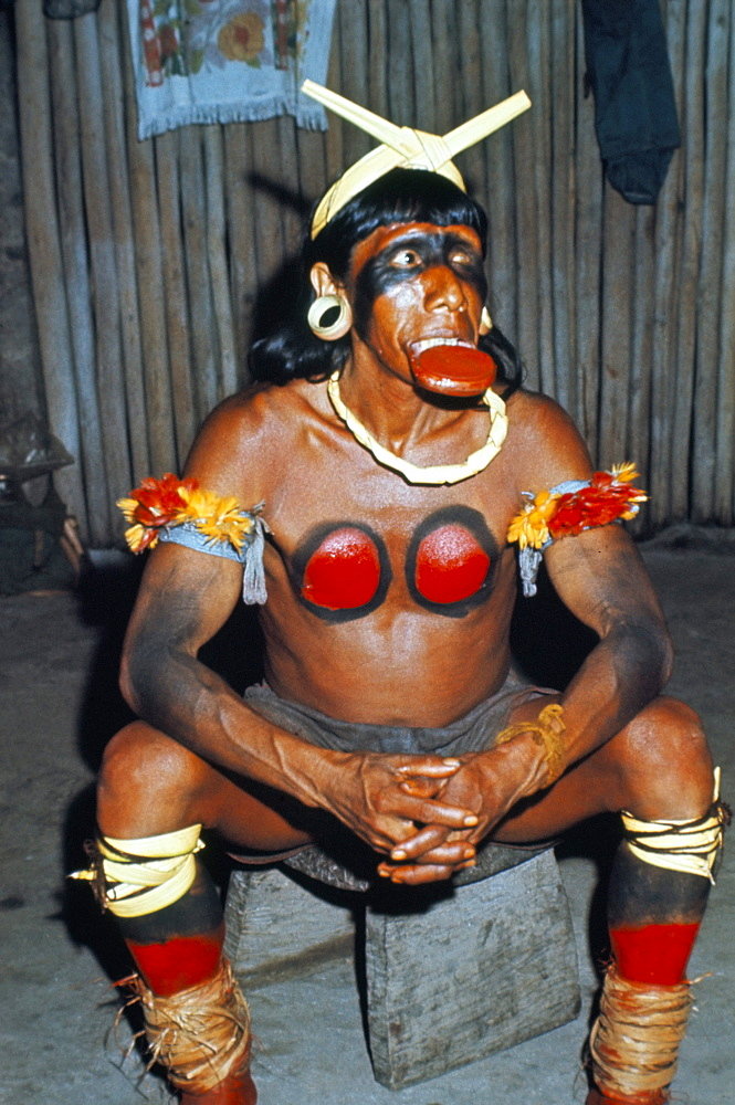 Suya Indian dressed for dance, Brazil, South America (1971)