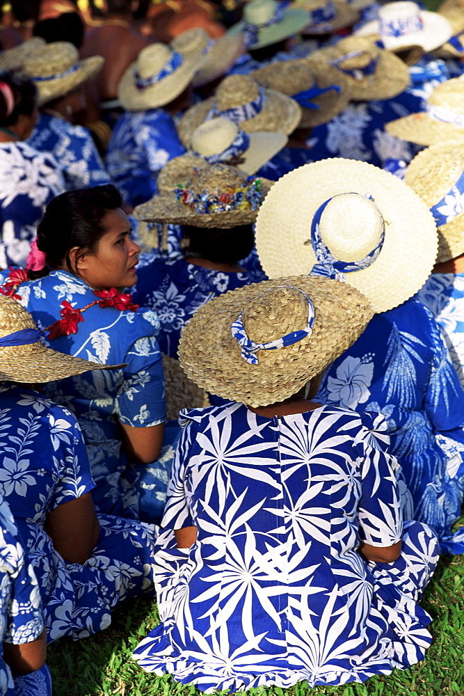 Women waiting to parade on Independence Day, Apia, Upolu, Western Samoa, Pacific Islands, Pacific