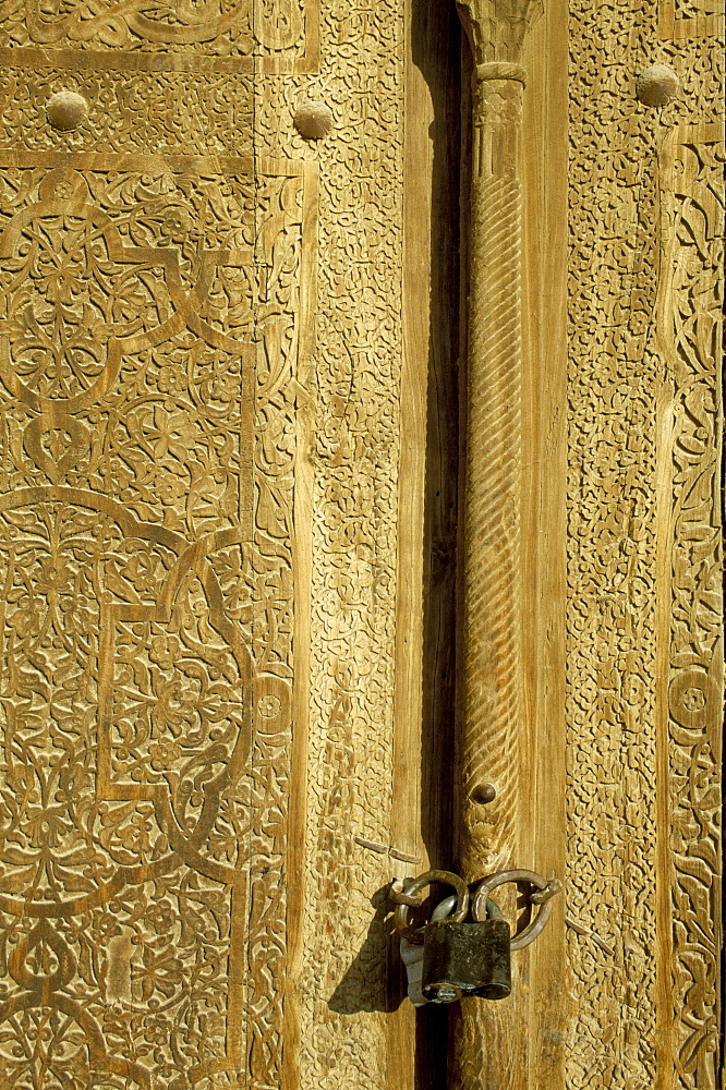 Detail of the gate of the Kunya Ark, Khiva, Uzbekistan, Central Asia, Asia