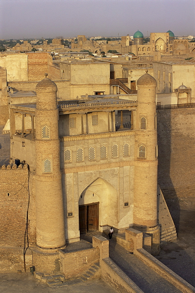 Main gate dating from the 18th centruy, to the Ruler's Fort, the Ark, Bukhara, Uzbekistan, Central Asia, Asia