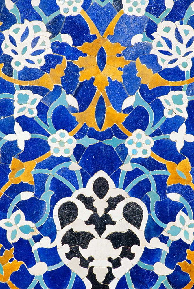 Ceramic detail on Mir-I-Arab madressa (madrasa), Bukhara, Uzbekistan, Central Asia