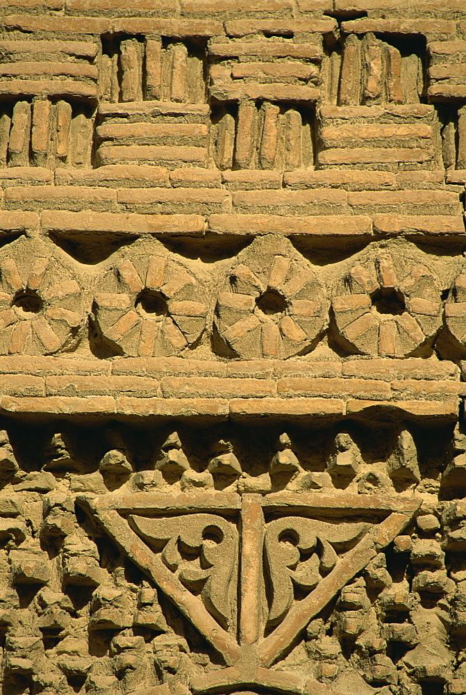 Wall detail, Ismail Samani mausoleum, Bukhara, Uzbekistan, Central Asia, Asia