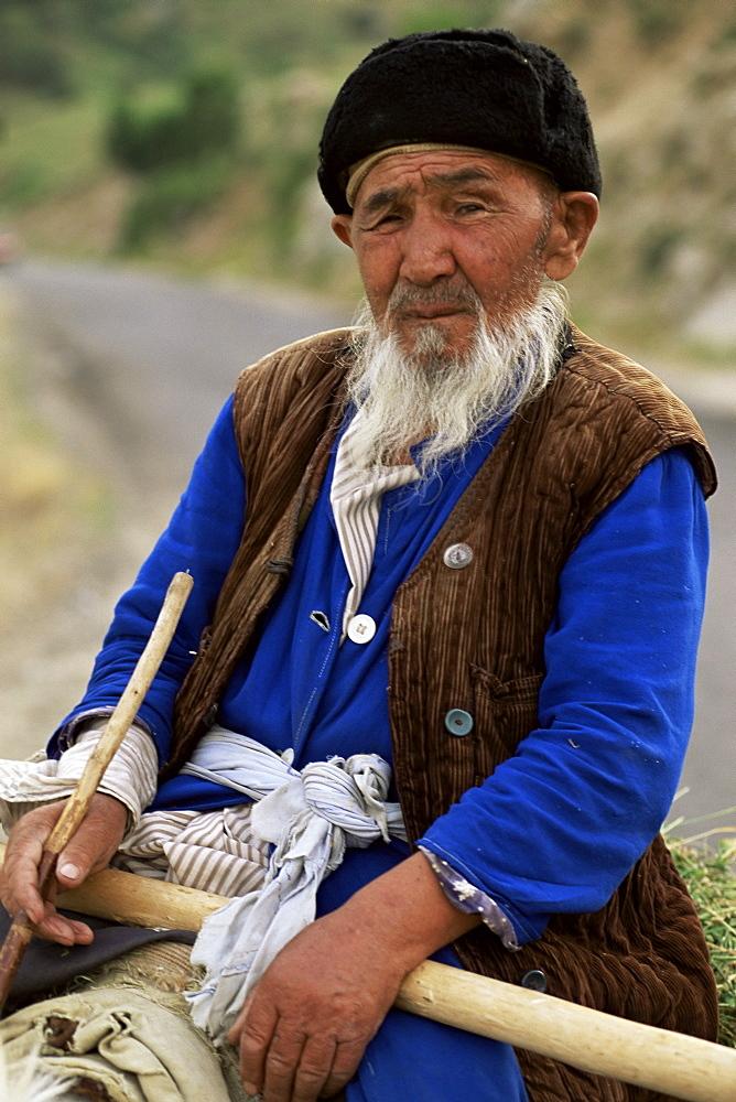 Uzbek farmer on his donkey, Shakhrisabz, near Samarkand, Uzbekistan, Central Asia, Asia