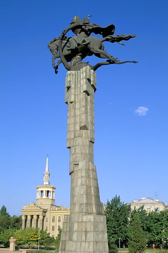 Manas statue, Science College, Bishkek, Kyrgyzstan, Central Asia, Asia