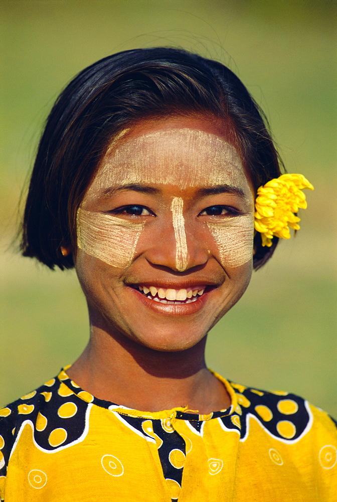 Girl in thanaka make-up, Mingun, Myanmar, Asia