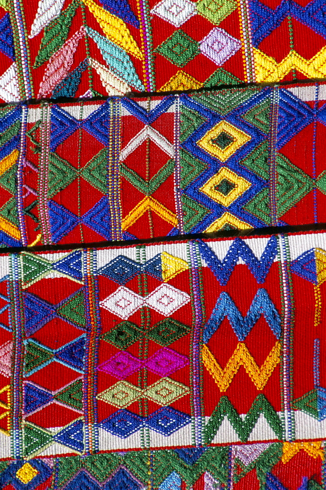 Detail of local weaving, Chichicastenango, Guatemala, Central America