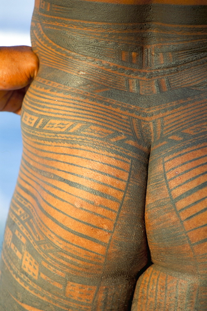 Tattooed bottom, Return to Paradise Beach, Upolu Island, Western Samoa, Samoa, Pacific