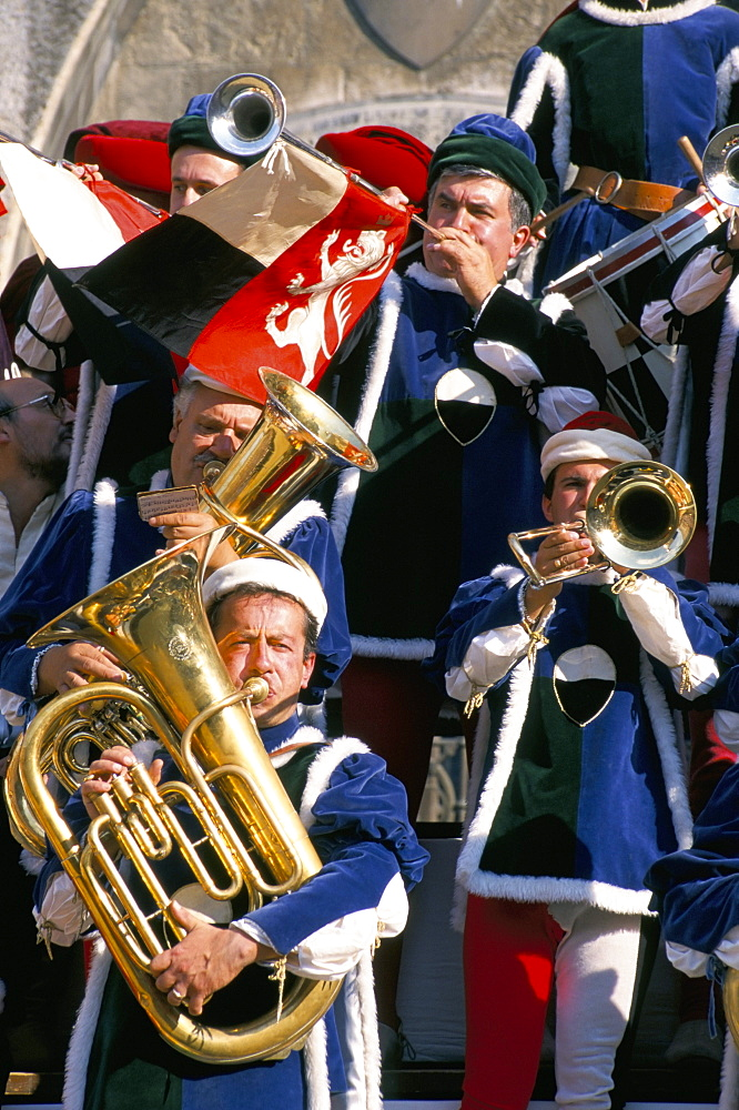 Musicians playing, Palio horse race, Siena, Tuscany, Italy, Europe