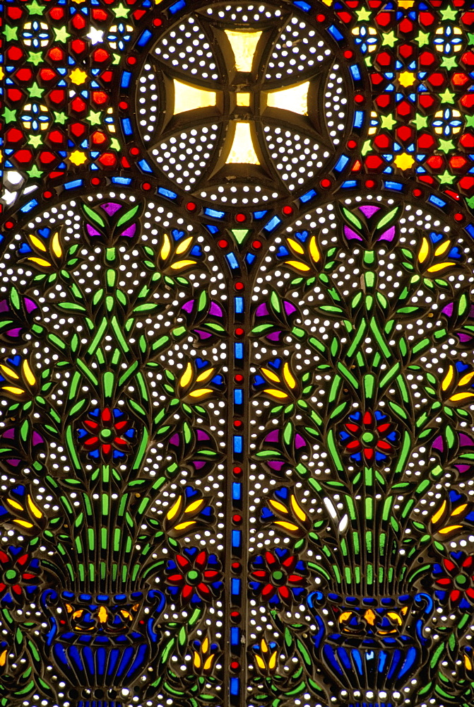 Stained glass from the 15th and 16th centuries, Coptic Museum, Old Cairo, Egypt, North Africa, Africa