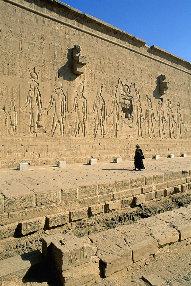 Reliefs on the back wall of the temple at Dendera, Middle Egypt, Egypt, North Africa, Africa