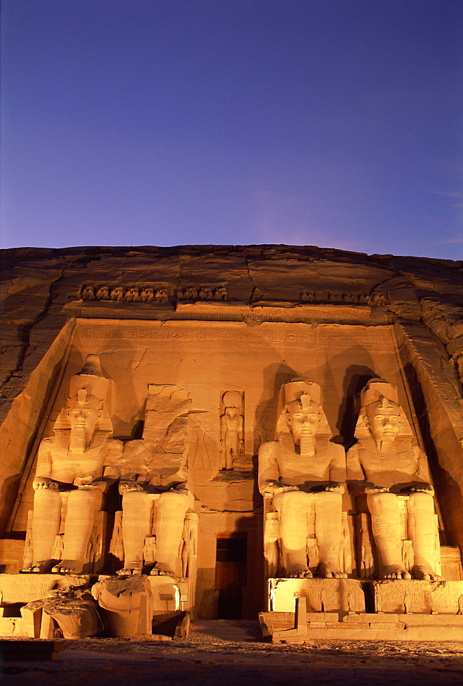 Floodlit temple facade and colossi of Ramses II (Ramesses the Great), Abu Simbel, UNESCO World Heritage Site, Nubia, Egypt, North Africa, Africa