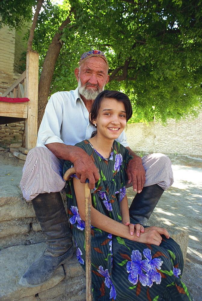 Chor Bakr, Uzbek caretaker and his granddaughter, near Bukhara, Uzbekistan, Central Asia, Asia