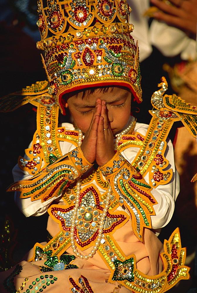 Boy about to become a monk, Shwedagon Pagoda, Yangon (Rangoon), Myanmar (Burma), Asia - 450-3968
