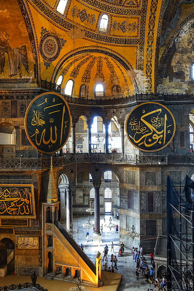 Haghia Sofia interior, UNESCO World Heritage Site, Istanbul, Turkey, Europe