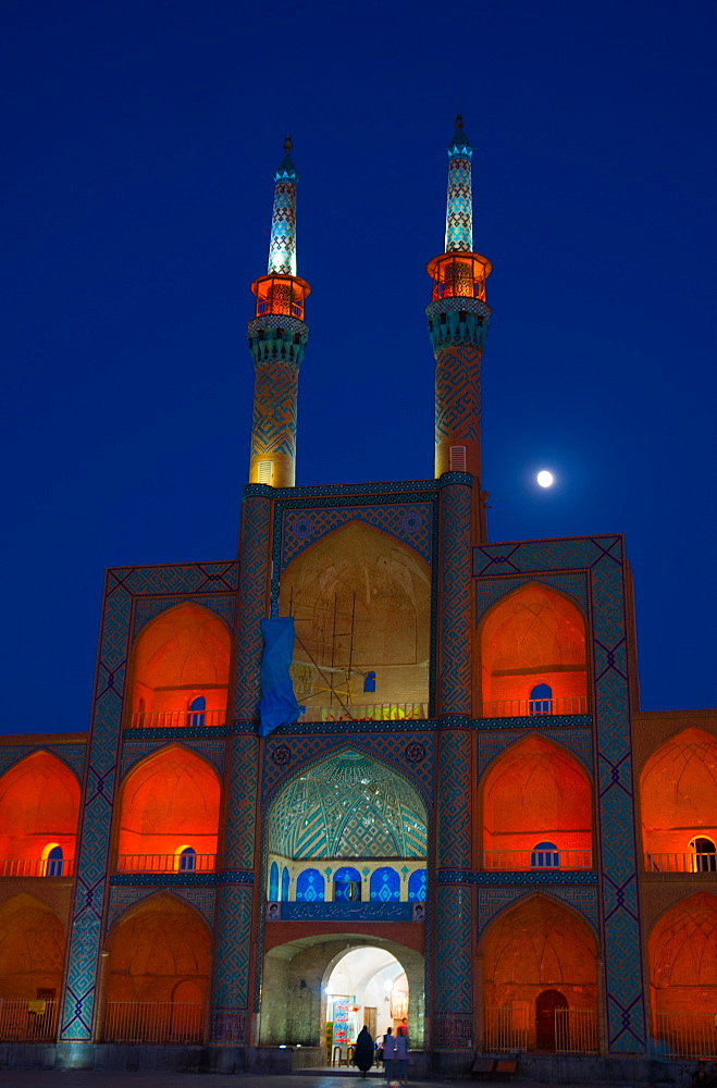 Amir Chakhmagh Complex floodlit with moon, Yazd, Iran, Middle East