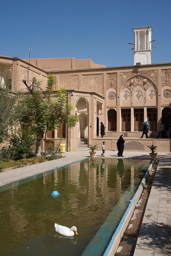 Courtyard of 19th century mansion called Khan-e Boroujerdi, Kashan, Iran