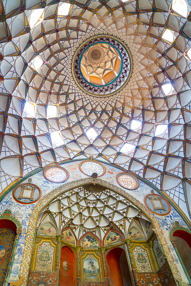 Ceiling of main reception in 19th century mansion, Khan-e Boroujerdi, Kashan, Iran
