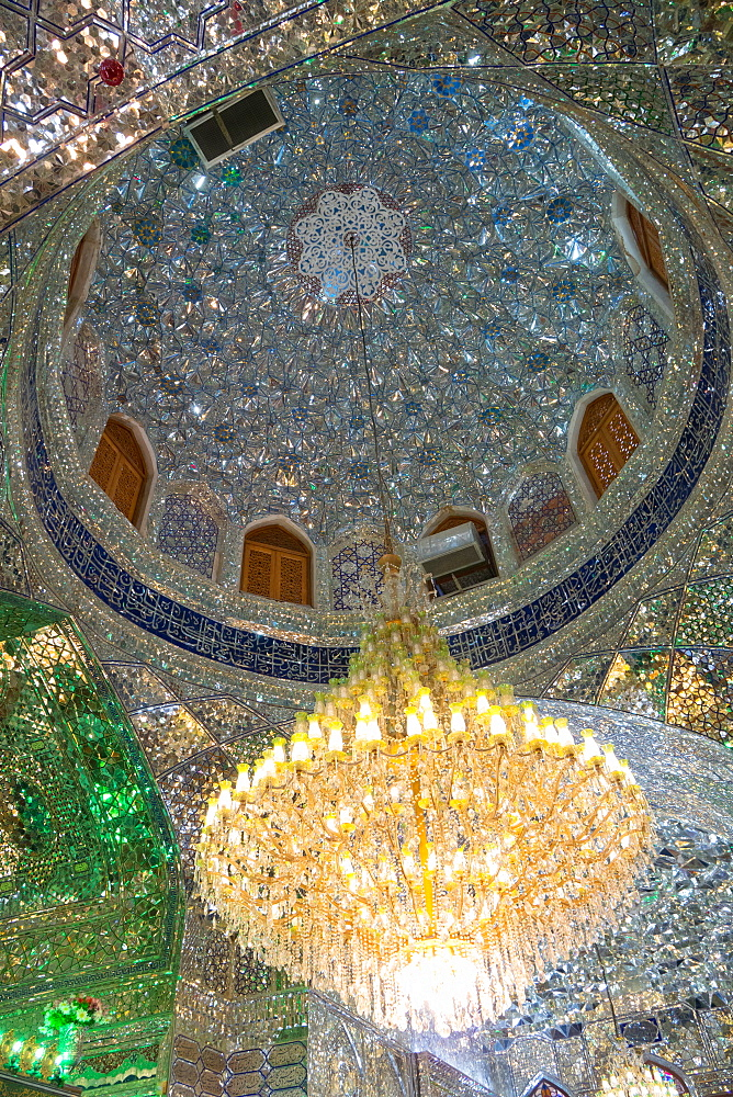 Ceiling in the mosque, Aramgah-e Shah-e Cheragh (Mausoleum of the King of Light), Shiraz, Iran, Middle East