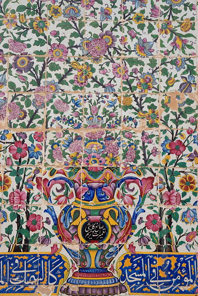 Early Qajar tiling, Masjed-e Vakil (Regent's Mosque), Shiraz, Iran, Middle East