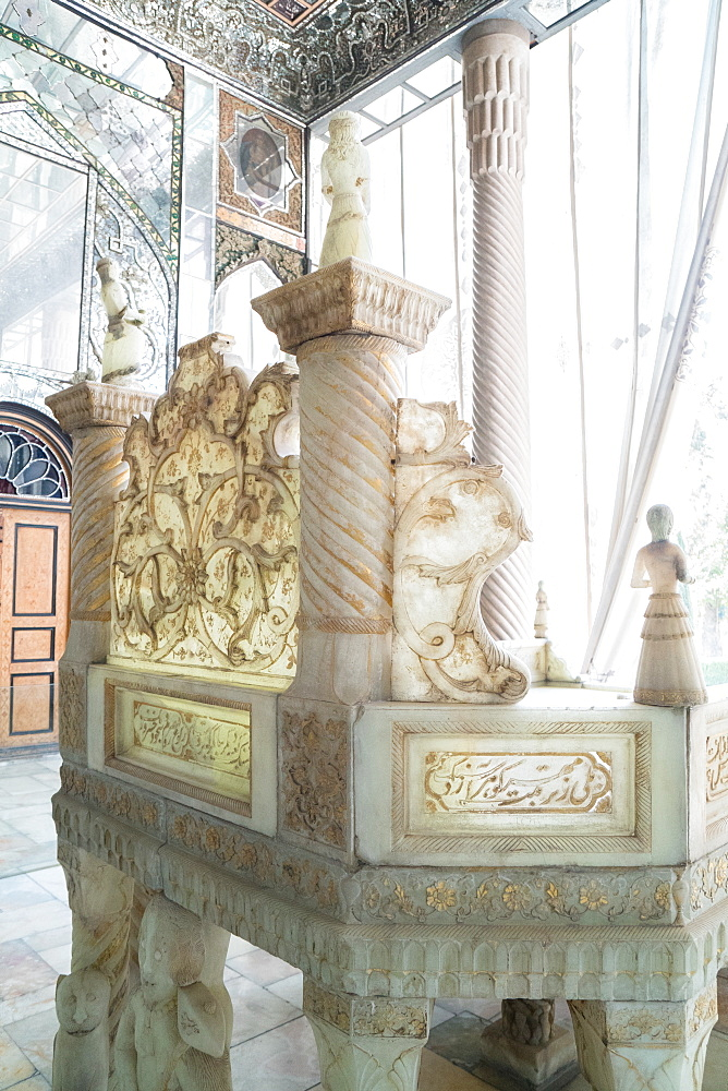 Ivan-e Takht-e Marmar (Marble Throne Verandah), Golestan Palace, UNESCO World Heritage Site, Tehran, Iran, Middle East